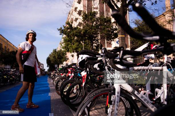 Competitors rack their bikes ahead of Ironman 703 Italy race on June 17 2017 in Pescara Italy