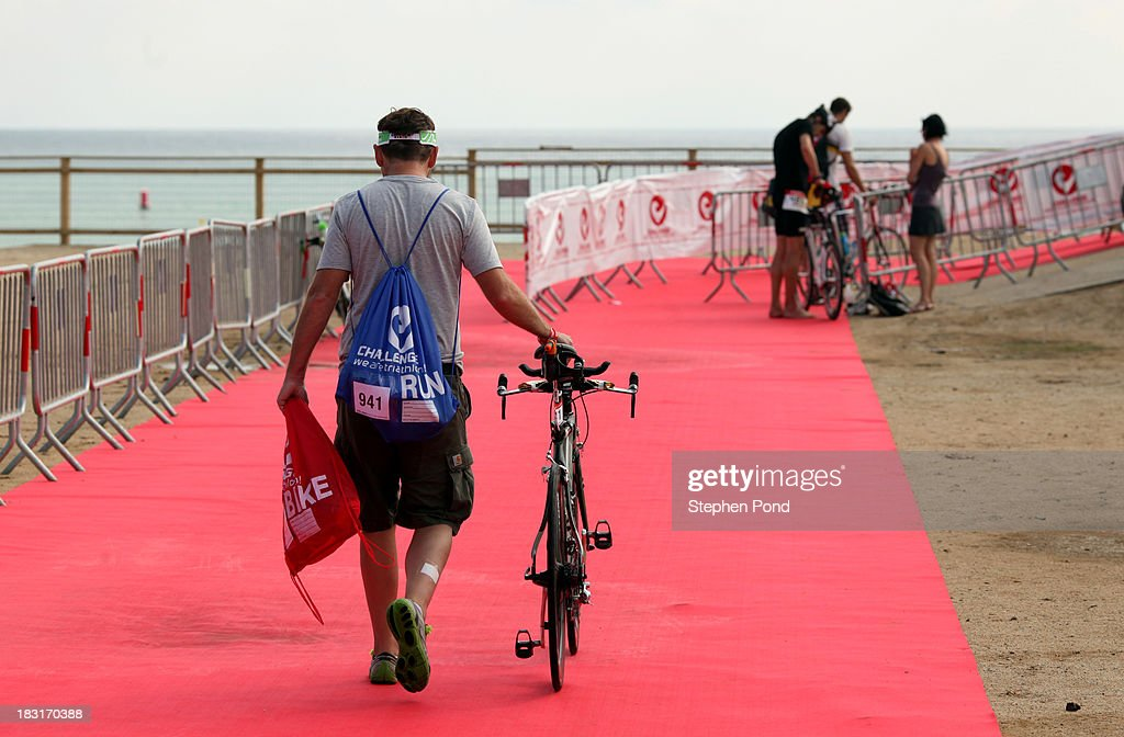 Competitors rack their bikes ahead of race day before the Challenge Triathlon Barcelona on October 5, 2013 in Barcelona, Spain.