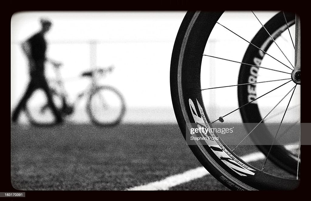 . Competitors rack their bikes ahead of race day before the Challenge Triathlon Barcelona on October 5, 2013 in Barcelona, Spain.