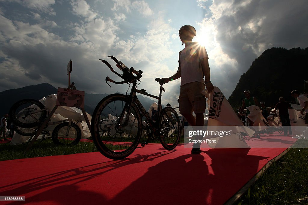 Competitors rack their bikes in preparation ahead of race day before the Challenge Triathlon Walchsee-Kaiserwinkl on August 31, 2013 in Walchsee, Austria.