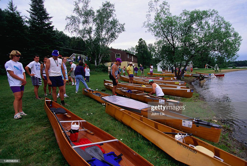 Competitors readying themselves for the canoe race at the Blueberry Festival - Ely, Minnesota
