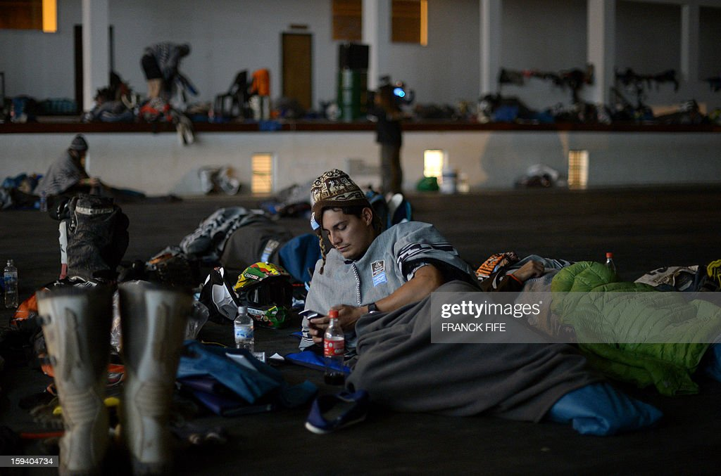 Competitors rest in Cachi after the Stage 7 of the Dakar 2013 between Calama and Salta, Argentina, on January 11, 2013. The rally will take place in Peru, Argentina and Chile January 5-20.