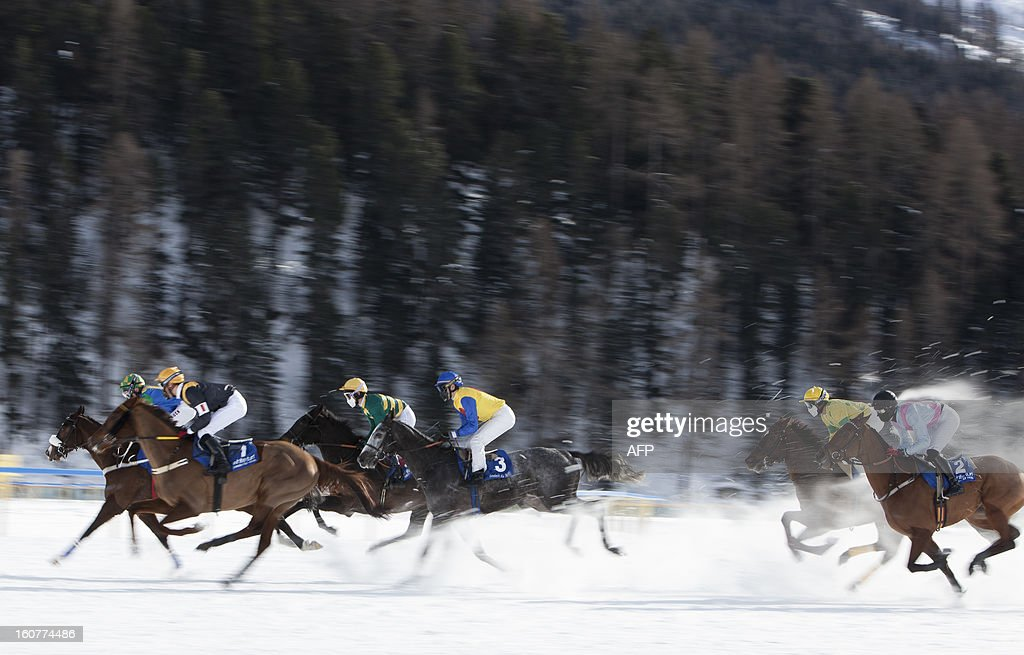 PEDRERO - Competitors ride they horse during the White Turf horse racing event in St. Moritz on February 3 , 2013. The races are held on the frozen lake of the Swiss mountain resort. AFP PHOTO / BORIS HEGER