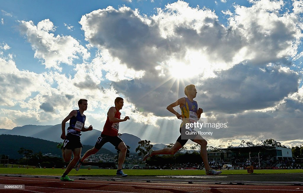 Competitors run in the Men's 800 Meters during the Briggs Athletics Classic on February 13, 2016 in Hobart, Australia.