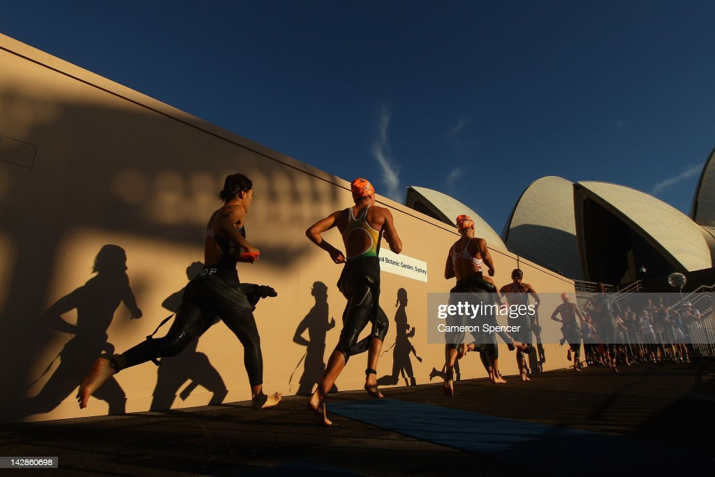 Competitors run to their bikes for transition during race one of the Elite Females 2012 ITU World Triathlon Series on April 14, 2012 in Sydney, Australia.