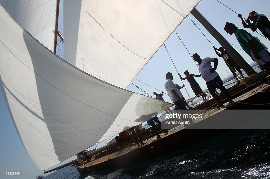 Competitors sail a dhow during a training session a day ahead of the Al-Gaffal 60 ft Traditional Dhow Sailing Race in the Gulf emirate of Dubai on May 28, 2010.