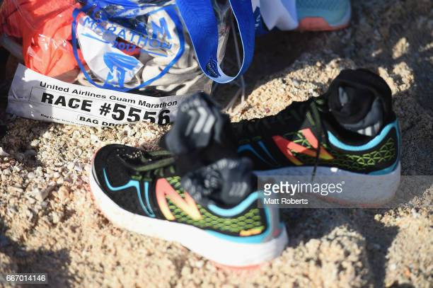 Competitors shoes and bag are seen on the beach after the United Airlines Guam Marathon 2017 on April 9 2017 in Guam Guam
