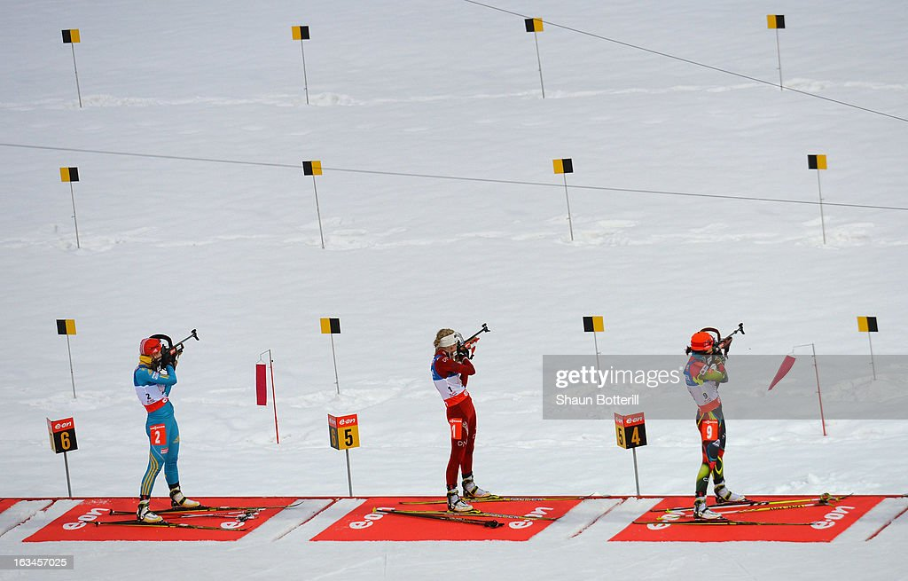 Competitors shoot on the range during the Women's 4 x 6 km Relay event at theBiathlon & Ski Complex on March 10, 2013 in Sochi, Russia.
