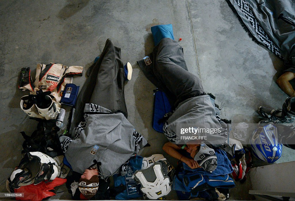 Competitors sleep in Cachi after the Stage 7 of the Dakar 2013 between Calama and Salta, Argentina, on January 11, 2013. The rally takes place in Peru, Argentina and Chile from January 5-20.