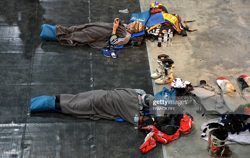 Competitors sleep in Cachi after the Stage 7 of the Dakar Rally 2013 between Calama and Salta, Argentina, on January 11, 2013. The rally takes place in Peru, Argentina and Chile January 5-20.