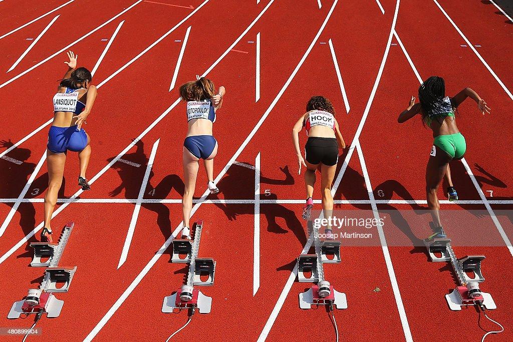 Competitors start during the Women's 100m at Ekangen Arena on July 16 2015 in Eskilstuna Sweden