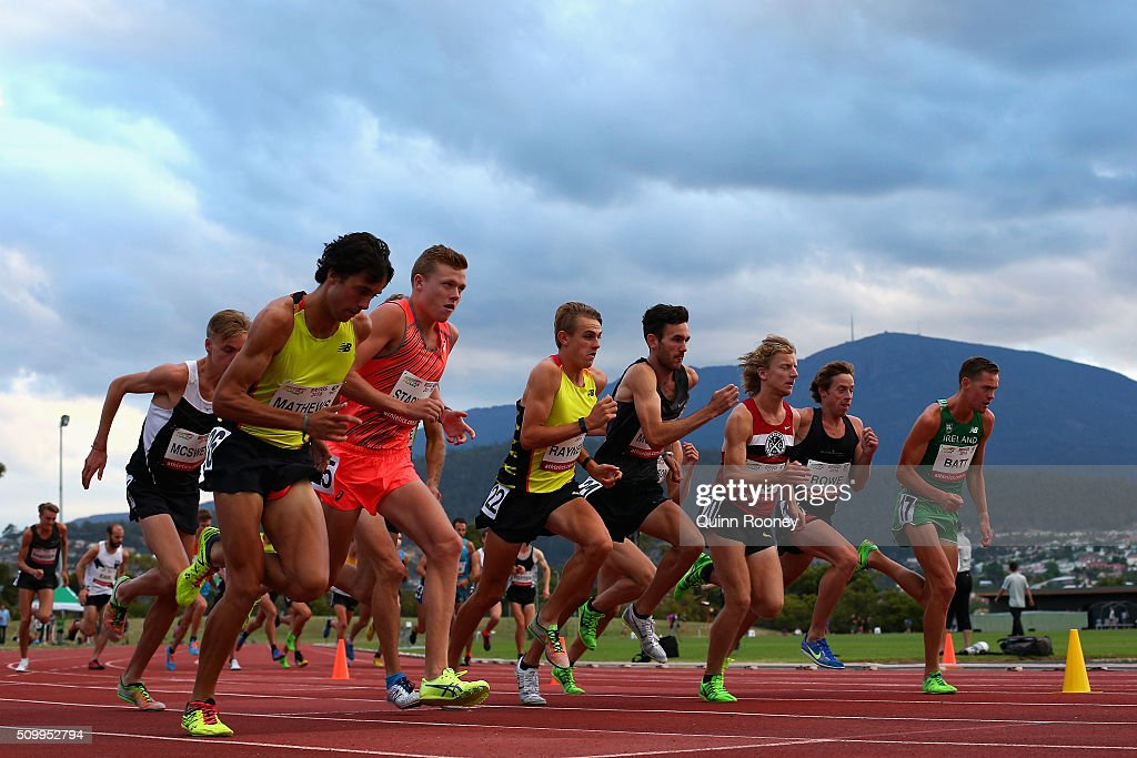 Competitors start in the Men's 5000 Meters during the Briggs Athletics Classic on February 13, 2016 in Hobart, Australia.