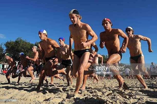 Competitors start in the under 19 2km Beach run during the 2011 Australian Surf Lifesaving Championships at Kurrawa Beach on April 7 2011 in Gold...