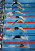 Competitors start the Men's 200m Backstroke Final during the XII FINA World Championships at the Rod Laver Arena on March 30 2007 in Melbourne...