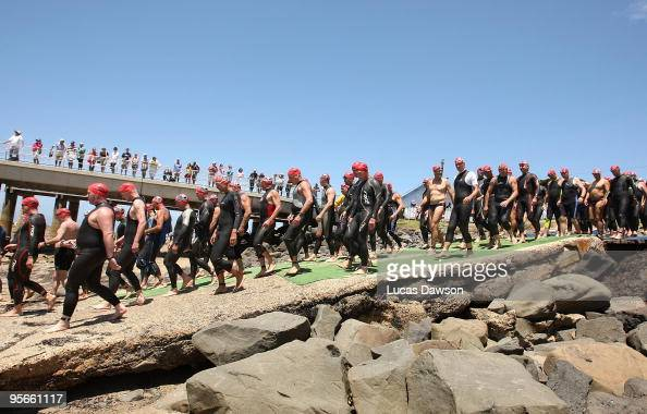 Competitors start the race during the Lorne Pier to Pub at Main Beach Lorne on January 9 2010 in Lorne Australia