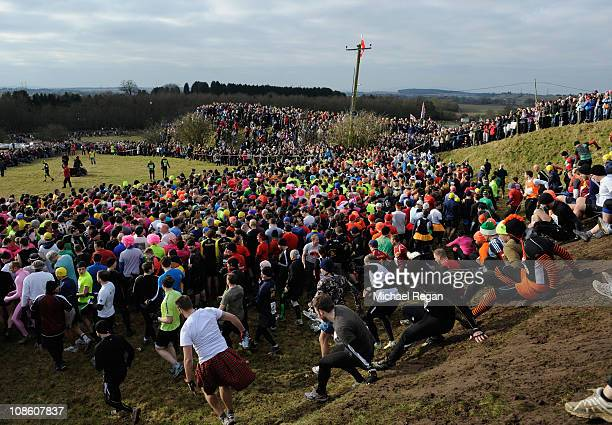 Competitors start the race during the Tough Guy race on January 30 2011 in Perton near Wolverhampton England Thousands of competitors from around the...