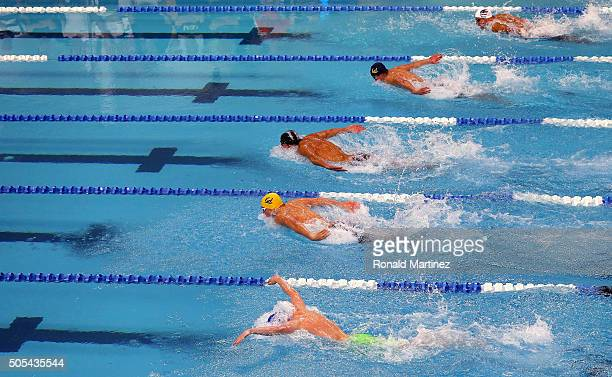 Competitors swims in the Men's 200 meter individual medley during the Arena Pro Swim Series at Austin on January 17 2016 in Austin Texas