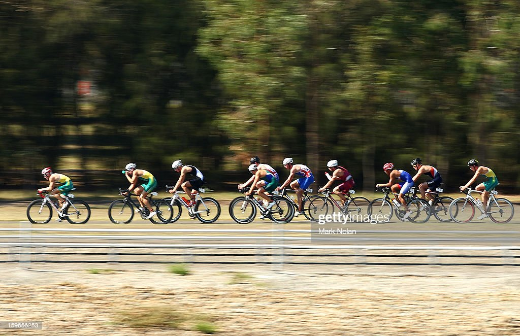 Competitors take on the cycling leg in the Mens Triathlon during day three of the 2013 Australian Youth Olympic Festival at the Sydney International Regatta Centre on January 18, 2013 in Sydney, Australia.