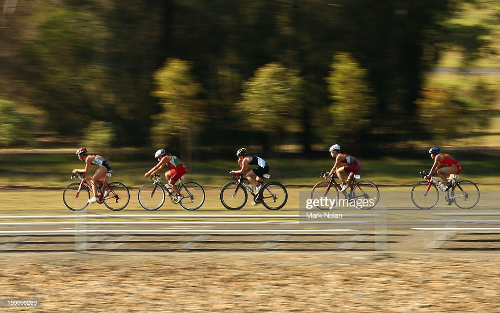 Competitors take on the cycling leg in the Womens Triathlon during day three of the 2013 Australian Youth Olympic Festival at the Sydney International Regatta Centre on January 18, 2013 in Sydney, Australia.