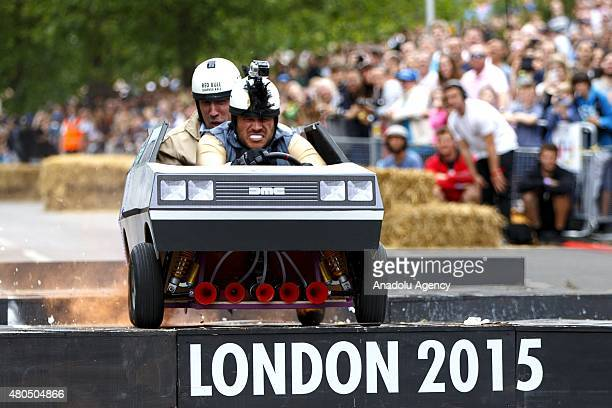Competitors take part at Red Bull Soapbox Race at Alexandra Palace in London England on July 12 2015 Red Bull Soapbox Race is an international event...