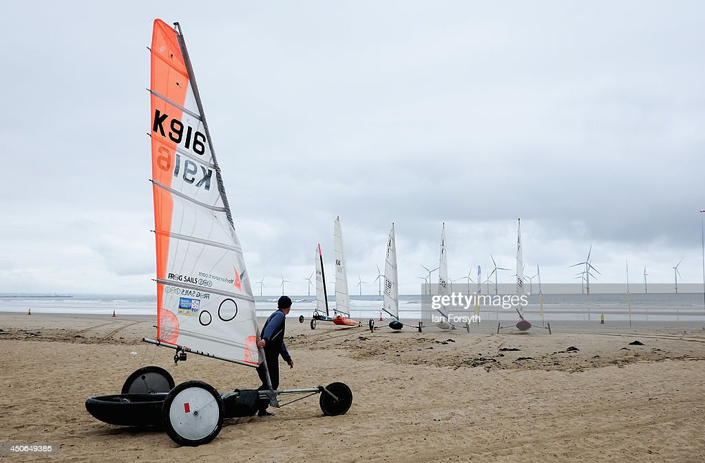 Competitors take part British Landsailing Regatta on Coatham Beach on June 15, 2014 in Redcar, England. This was the sixth and final round of the championship series and brought together some of the United Kingdom's best landsailors.