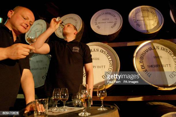 Competitors take part in a blind tasting at the Bushmills distillery Co Antrim