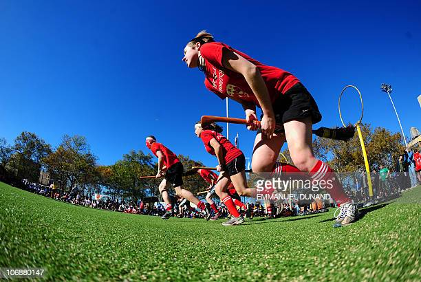 Competitors take part in a match of Quidditch Harry Potter's magical and fictional game during the 4th Quidditch World Cup in New York November 13...