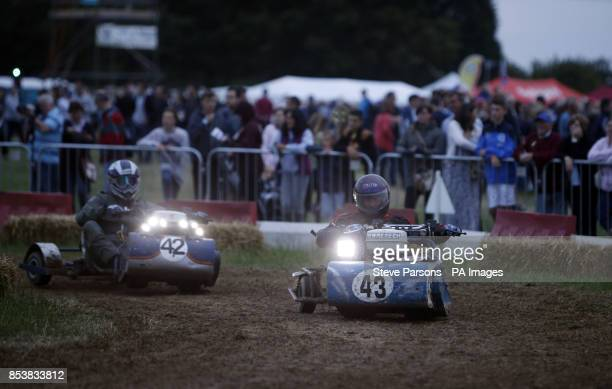 Competitors take part in the British Lawn Mower Racing Association 12 hour British Lawn mower endurance race near Billingshurst Sussex