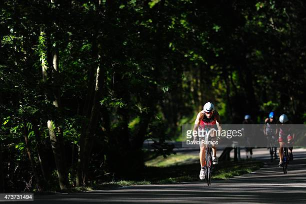 Competitors take part in the cycle leg during Ironman 703 on May 17 2015 in Barcelona Spain