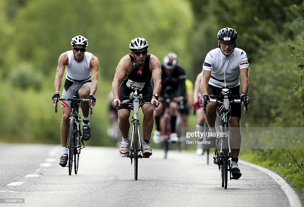 Competitors take part in the cycle leg during the Challenge Henley-on-Thames Triathlon on September 16, 2012 in London, England.