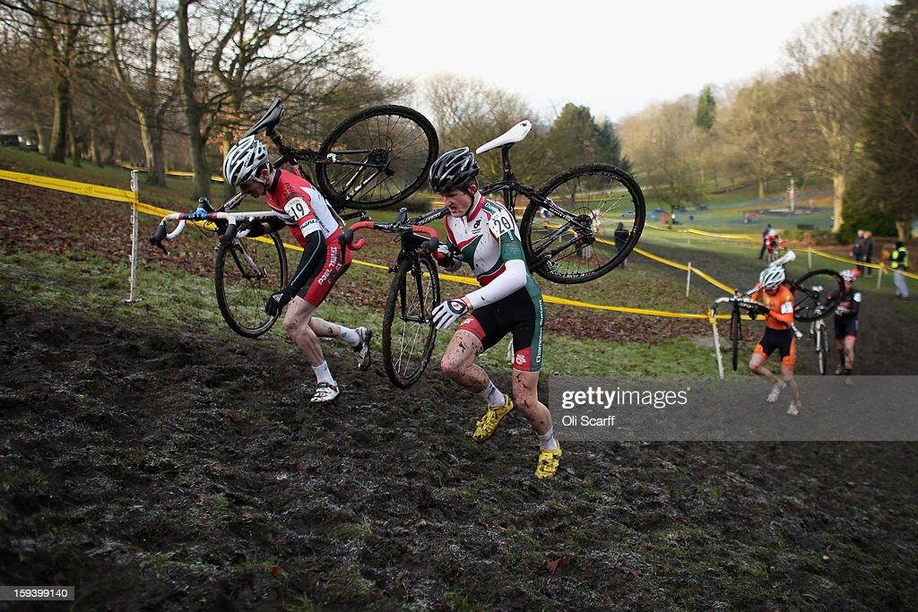 Competitors take part in the 'Mens Junior' category race at the 2013 National Cyclo-Cross Championships in Peel Park on January 13, 2013 in Bradford, England. The sport of cyclo-cross, featuring ,lightweight bikes with off-road tyres, has dramatically increased in popularity over the past few years. Cyclo-cross courses are often run over a mixture of terrains from tarmac to mud and frequently include obstacles or steep inclines where riders have to carry their bike.