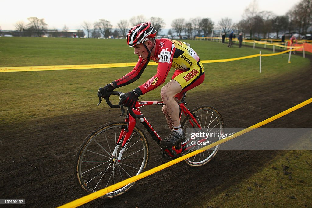 Competitors take part in the 'Mens Junior' category race at the 2013 National Cyclo-Cross Championships in Peel Park on January 13, 2013 in Bradford, England. The sport of cyclo-cross, featuring lightweight bikes with off-road tyres, has dramatically increased in popularity over the past few years. Cyclo-cross courses are often run over a mixture of terrains from tarmac to mud and frequently include obstacles or steep inclines where riders have to carry their bike.