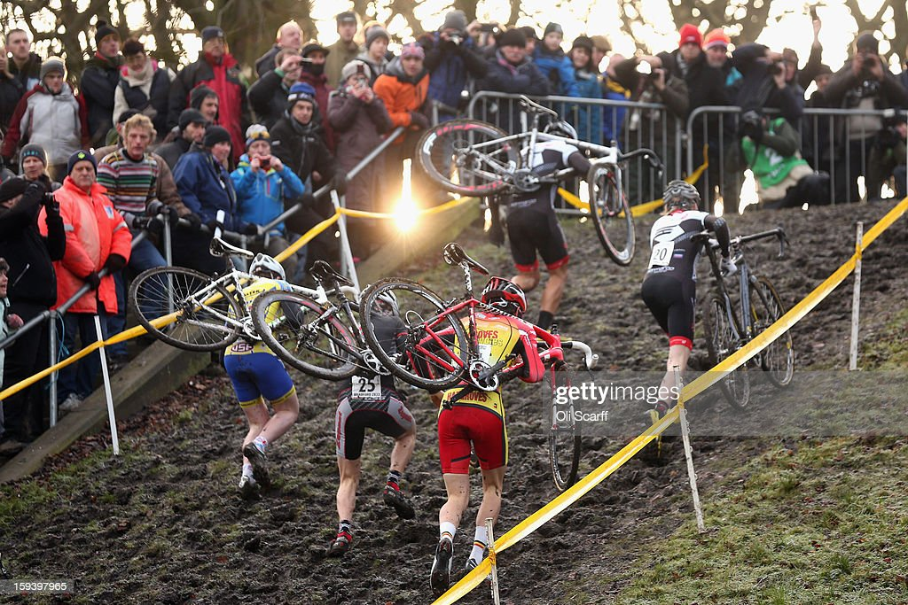 Competitors take part in the 'Mens Under 23' category race at the 2013 National Cyclo-Cross Championships in Peel Park on January 13, 2013 in Bradford, England. The sport of cyclo-cross, featuring ,lightweight bikes with off-road tyres, has dramatically increased in popularity over the past few years. Cyclo-cross courses are often run over a mixture of terrains from tarmac to mud and frequently include obstacles or steep inclines where riders have to carry their bike.