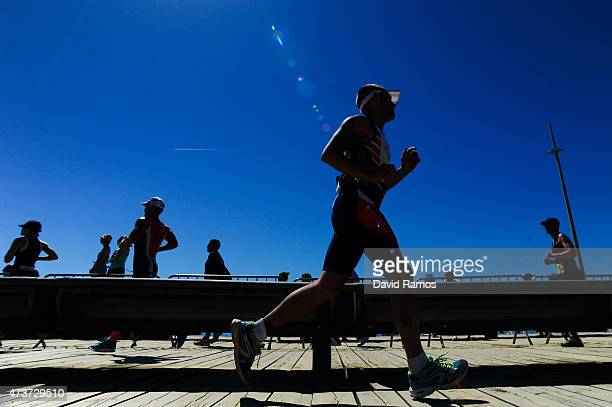 Competitors take part in the running leg during Ironman 703 on May 17 2015 in Barcelona Spain