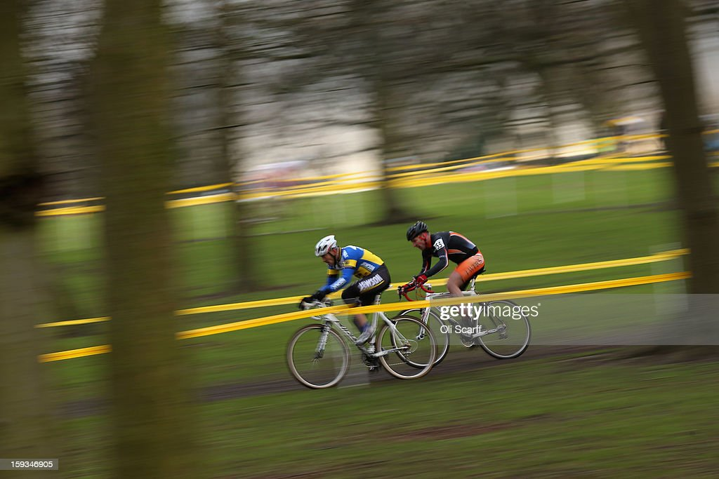 Competitors take part in the 'Veteran 40-49 Men' category race at the 2013 National Cyclo-Cross Championships in Peel Park on January 12, 2013 in Bradford, England. The sport of cyclo-cross, featuring lightweight bikes with off-road tyres, has dramatically increased in popularity over the past few years. Cyclo-cross courses are often run over a mixture of terrains from tarmac to mud and frequently include obstacles or steep inclines where riders have to carry their bike.