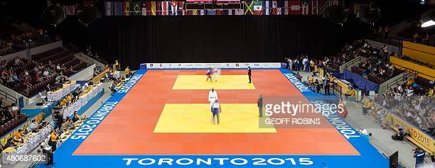 Competitors take part on the final day of the judo competition at the 2015 Pan American Games in Toronto Canada July 14 2015 AFP PHOTO / GEOFF ROBINS