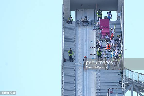 Competitors train on the Ski Jump prior to the 2017 FIS Ski Jumping World Cup test event For PyeongChang 2018 at Alpensia Ski Jumping Center on...