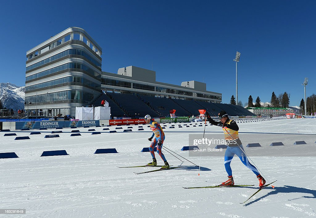 competitors warm up before the Women's 15km Individual Event during the E. ON IBU Biathlon World Cup at the 'Laura' Biathlon & Ski Complex on March 7, 2013 in Sochi, Russia.