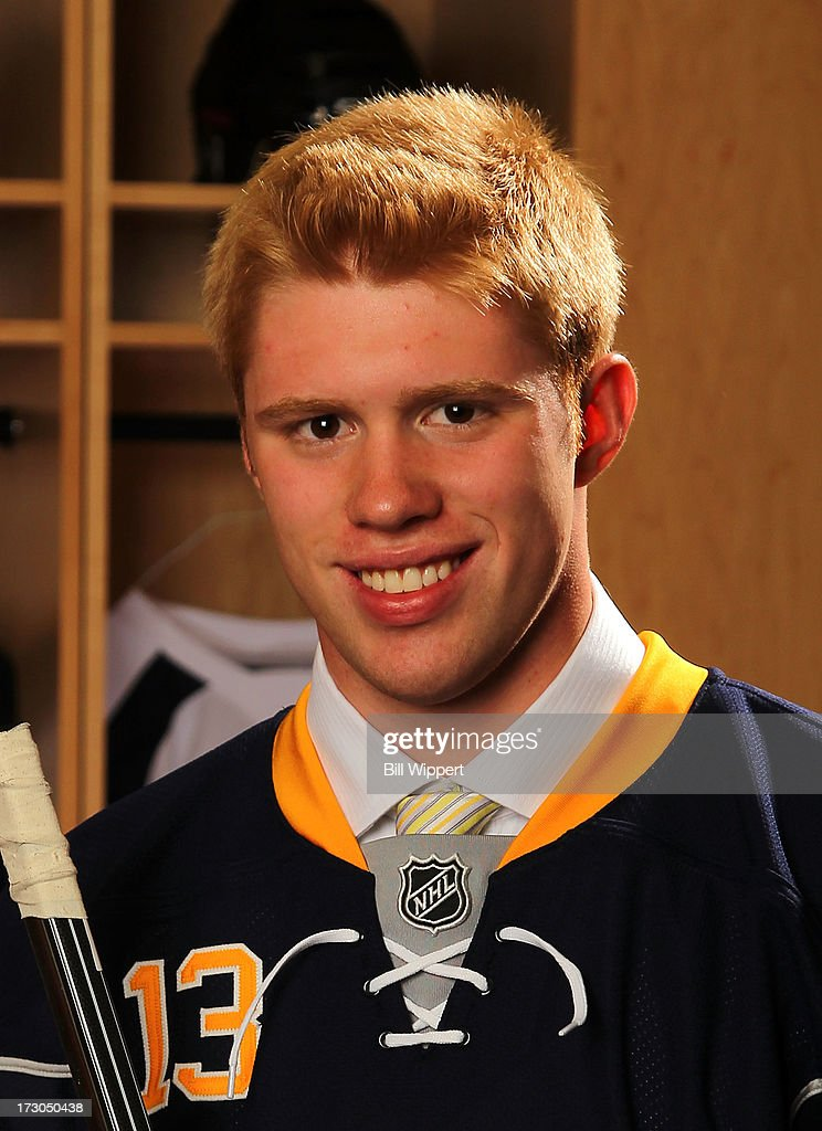 J.T. Compher, 35th pick overall by the Buffalo Sabres, poses for a portrait during the 2013 NHL Draft at Prudential Center on June 30, 2013 in Newark, New Jersey.