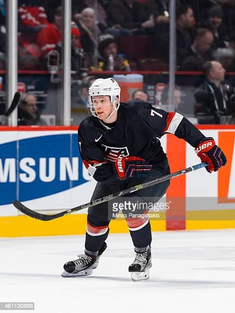 Compher of Team United States skates in a quarterfinal round during the 2015 IIHF World Junior Hockey Championships against Team Russia at the Bell...