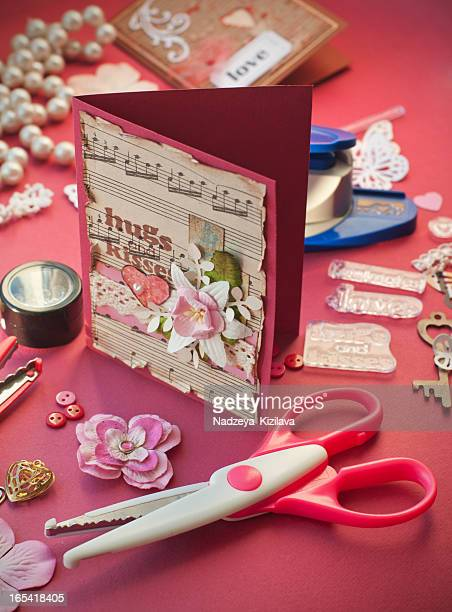 Compilation of scrapbooking material for valentines day