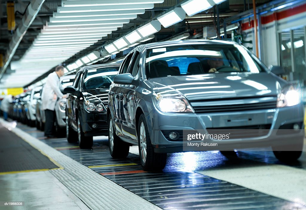 Completed Cars on a Factory Assembly Line : Stock Photo