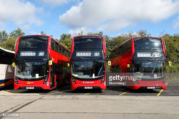 Completed Enviro 400 London buses stand outside the Alexander Dennis Ltd factory in Scarborough UK on Wednesday Sept 13 2017 Manufacturing in the...