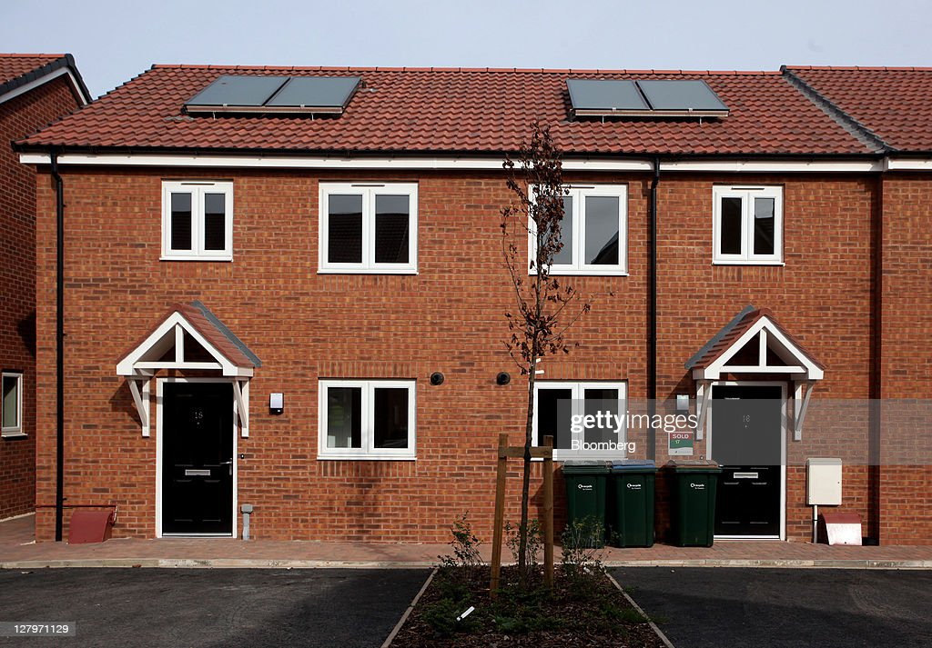 Completed Space4 Ltd Homes Built By Persimmon Plc Sit On Their Residential Development At Bannerbrook Park