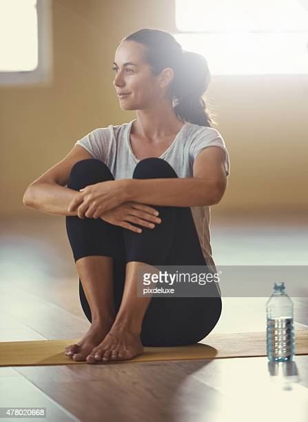 Completely calm and relaxed after her yoga workout