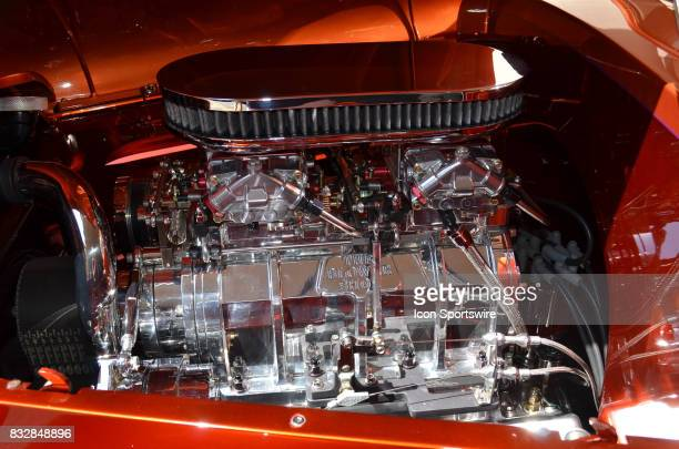 Completely chromed engine is featured on the Top ShownShine 1937 Chevy pickup on display at the Hot August Nights Custom Car Show the largest...