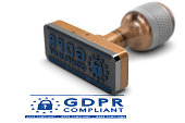 EU General Data Protection Regulation Compliance. Rubber stamp with the text GDPR Compliant over white background. 3D illustration