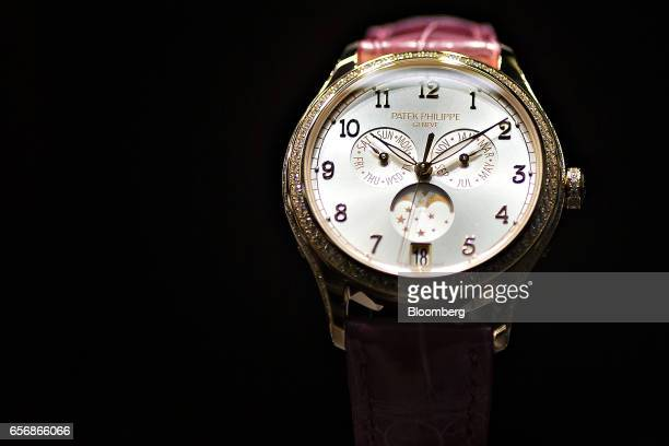 Complications model luxury ladies wristwatch produced by Patek Philippe SA stands on display during the 2017 Baselworld luxury watch and jewelry fair...
