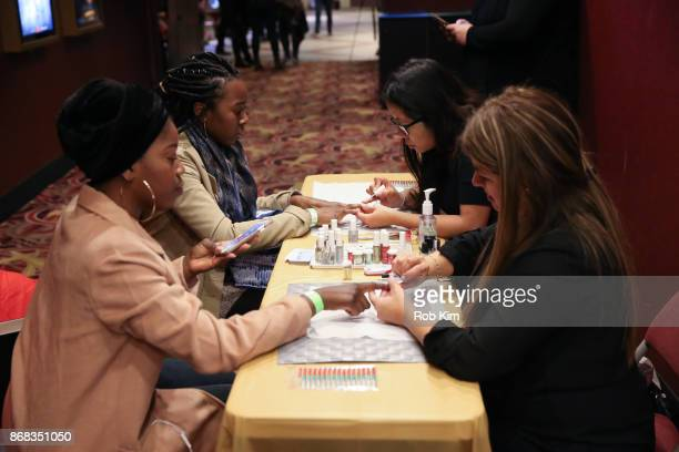 A complimentary nail salon at 'A Bad Moms Christmas' Screening hosted by Natalie Zfat at AMC 34th Street on October 30 2017 in New York City
