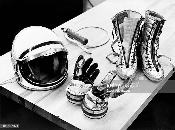 Components of the Mercury spacesuit included gloves, boots and a helmet.